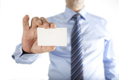 Man holding business card Royalty Free Stock Photography