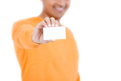 Man holding business card Royalty Free Stock Photos