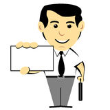 Man Holding Business Card. Door to door salesman in tie with a briefcase holding a business card stock illustration