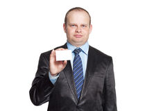 A man holding a business card Royalty Free Stock Photo
