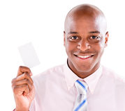 Man holding business card Stock Photography