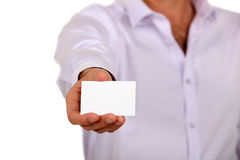 Man holding a business card Stock Photos