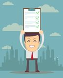 Man holding business contract or agreement paper. Businessman holding business contract or agreement paper royalty free illustration