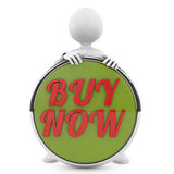 Man holding buy now button. 3d people. person with a button Buy now Royalty Free Stock Images