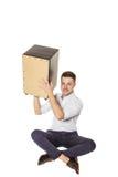 Man holding Cajon Royalty Free Stock Image