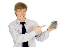 Man holding calculator Stock Image