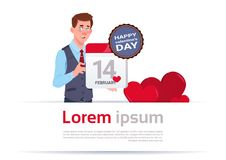Man Holding Calendar Page 14 February Happy Valentines Day Concept. Flat Vector Illustration Royalty Free Illustration
