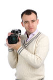 Man holding a camcorder Stock Photos