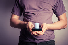 Man holding candle Royalty Free Stock Photos
