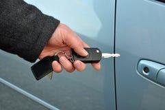Man holding car key Stock Photography