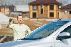 Man holding car keys Stock Photography