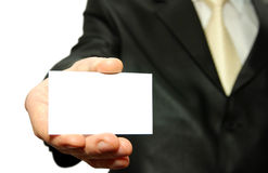 Man  holding a  card. Man hand holding a blank business card Stock Photo