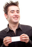 Man holding a card Royalty Free Stock Photography