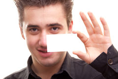 Man holding a card Stock Photo