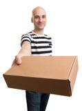 Man Holding Card box Stock Photos