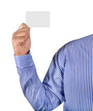 Man holding card. Isolated on gray background Royalty Free Stock Image