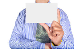 Man holding card. Isolated on gray background Stock Photography