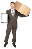 Man holding cardboard box and clipboard with paper Royalty Free Stock Image