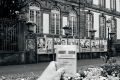Man holding carte electorale. STRASBOURG, FRANCE - APR 23, 2017: Man holding Carte Electorale - voter`s card French voter registration card in front of official royalty free stock photos