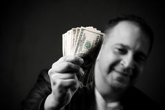 Man Holding Cash Stock Photos