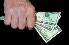 Man holding cash Royalty Free Stock Photography