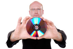 Man holding CD royalty free stock photography