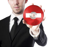 Man holding cd stop Stock Images