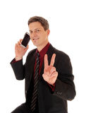 Man holding cell phone. Royalty Free Stock Photo