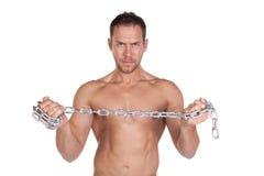 Man Holding Chain Hand Stock Photo