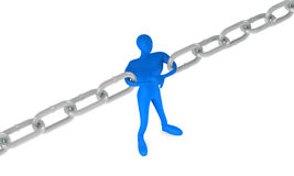 Man holding a chain together. 3d man holding a chain together Royalty Free Stock Photo