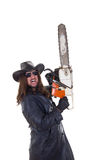 Man holding chainsaw Stock Photography