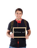 Man holding chalkboard with Stock Photos