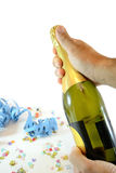 Man holding champagne bottle Stock Photography
