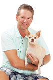 Man Holding Chihuahua Dog Royalty Free Stock Photo