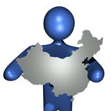 Man holding China map sign Stock Photo