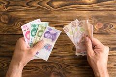 Man holding Chinese Yuan and Turkish Lira royalty free stock images