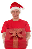 Man holding christmas gift Royalty Free Stock Photography