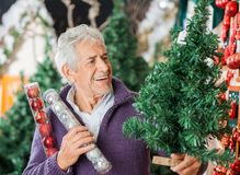 Man Holding Christmas Tree And Ornaments Royalty Free Stock Photo