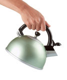 Man holding a chrome kettle Royalty Free Stock Images