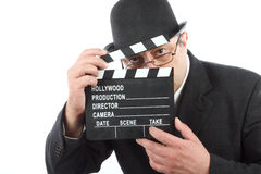 Man holding clapboard Royalty Free Stock Photography