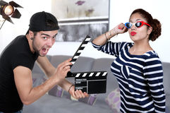 Man Holding Clapper Board And woman actress Royalty Free Stock Image
