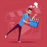Man Holding Clapperboard Modern Video Blogger Vlog Creator Channel. Flat Vector Illustration Stock Photos