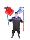 Man holding cleaning supplies. Stock Photography