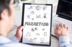 Marketing concept on a clipboard stock image