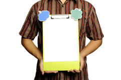 Man Holding Clipboard With Wooden Sign Royalty Free Stock Images