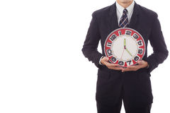 Man holding clock hands. Royalty Free Stock Photos