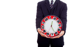 Man holding clock hands. Royalty Free Stock Image