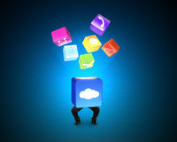 Man holding cloud box illuminated colorful icons  on blu Stock Photo