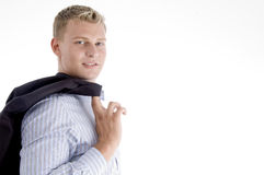 Man holding coat Stock Images