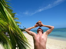Man holding a coconut Stock Photography